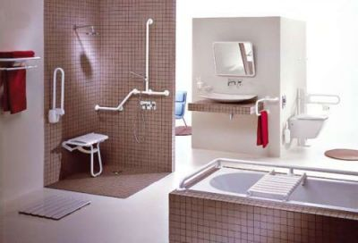 Disabled bathroom grab rails
